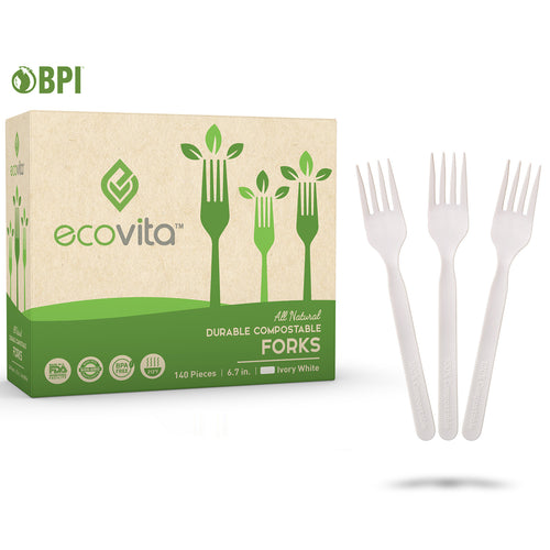 Ecovita Compostable Biodegradable Forks Cutlery Utensils