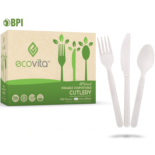 Ecovita Compostable Biodegradable Forks Spoons Knives Cutlery Silverware Utensils