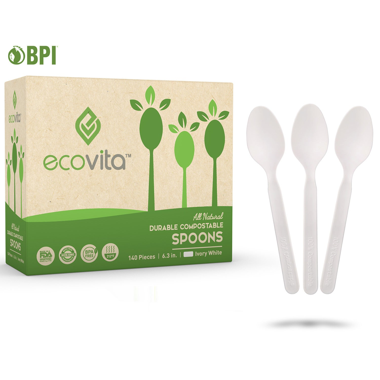 100% Compostable Spoons - 140 & 500 Disposable Eco Spoon Utensil Sets