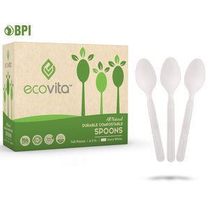 Ecovita Compostable Biodegradable Spoons Cutlery Utensils