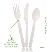 Load image into Gallery viewer, Ecovita Premium Compostable Biodegradable Forks Spoons Knives Cutlery Utensils Plant Corn