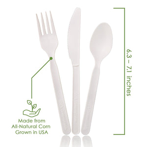 Ecovita Premium Compostable Biodegradable Forks Spoons Knives Cutlery Utensils Plant Corn