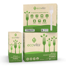 Load image into Gallery viewer, Ecovita Compostable Biodegradable Forks 140 Cutlery Utensils