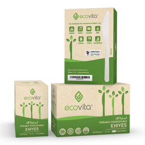 Ecovita Compostable Biodegradable Knives 140 Cutlery Utensils