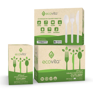 Ecovita Compostable Biodegradable Forks Spoons Knives Cutlery Utensils