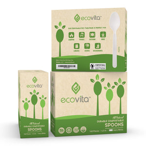 Ecovita Compostable Biodegradable Spoons 140 Cutlery Utensils
