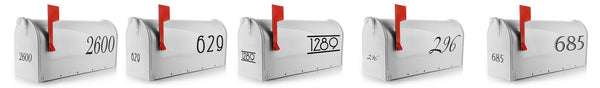 Have you been searching for mailbox stickers or mailbox numbers? We had a hard time finding mailbox number stickers that last long, and look beautiful. So we decided to design our own. Eastcoast Mailbox Decals are made from high quality out-door vinyl, will last for years to come, and they look great! Customize and of these Vinyl Mailbox Decals with your street number. If you're looking for more than just numbers we have you covered