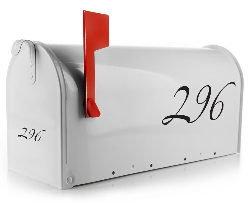 This script number font will surely add beauty to your mailbox. Our mailbox number stickers are made from high quality vinyl and will last for years to come. Mailbox decals are a great way to help guests locate your home.