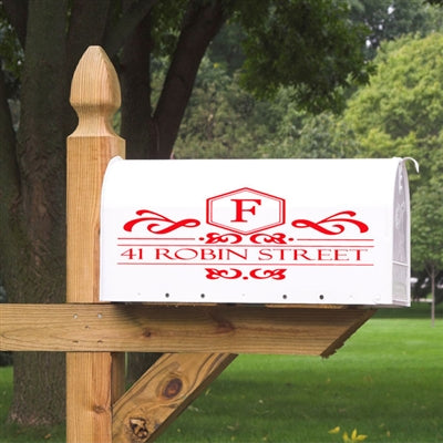 Make your boring mailbox shine with our classy Elegant Initial Mailbox Decal. This Mailbox decal will be personalized with your initial inside the diamond shape with swirl design and your street address centered perfectly inside the lines.You can choose from over 20 colors to match your style. Our Mailbox Decals will not peel or fade in the elements, making them a great alternative to those plain mailbox stickers.