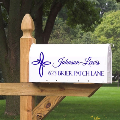 Make your mailbox stand out with this elegant cross design. This Mailbox Decal will come customized with your two lines of information centered next to the swirly cross design. Our Mailbox Decals will not peel or fade in the elements, making them a great alternative to those plain mailbox stickers. (1741343883310)