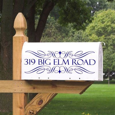 Dress up your mailbox with this filigree swirl design. This filigree mailbox decal will come customized with your one line of information centered between the filigree swirl pattern.Choose from a standard mailbox decal or a jumbo mailbox decal  Our Mailbox Decals will not peel or fade in the elements, making them a great alternative to those plain mailbox stickers.