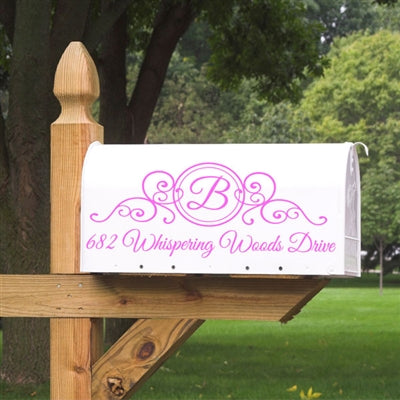 Add some beauty to your mailbox with the Monogram Mailbox Decal. Your initial and address will be customized in a script font, and sized perfectly to fit within the filigree accent design. This monogram mailbox decal is sure to make your mailbox stand out to guests, ems, and package delivery persons. (1745309401134)