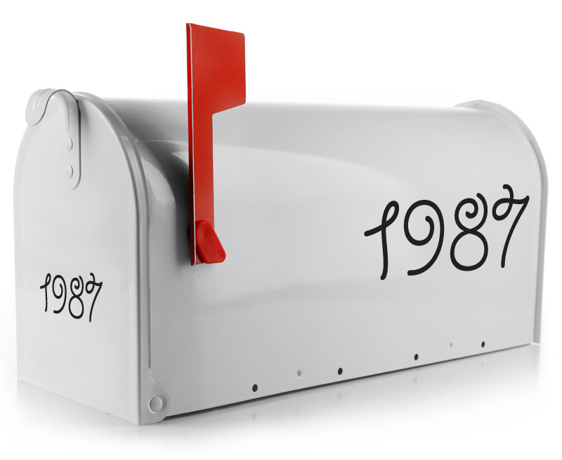 Mailbox Decal - Number Swirls