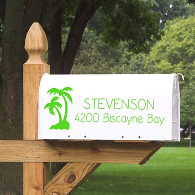 Feeling Tropical?  Our Palm Tree Mailbox Decal is a perfect addition to your beach house!  Made from high quality outdoor vinyl, your mailbox decal will stay looking beautiful for years to come.  Choose from one side of the mailbox or both  Available in over 20 color choices  Add the numbers to the front door of the mailbox if you wish