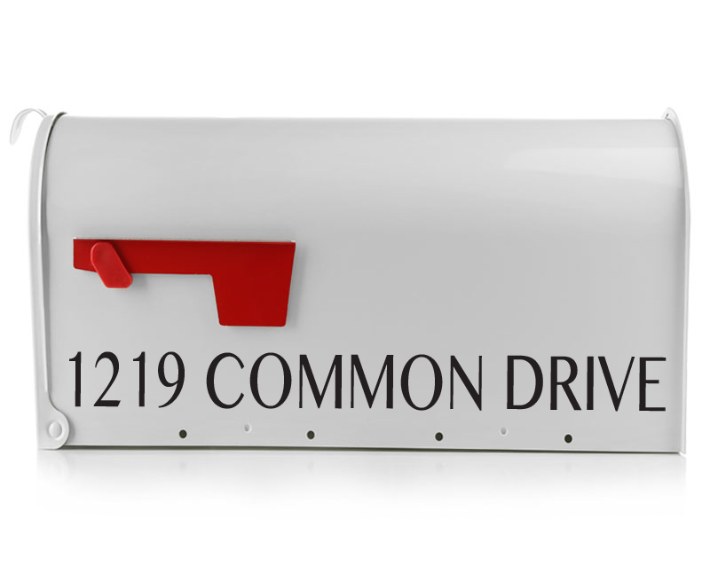 The Common Mailbox Decal adds a bold flair to your mailbox. This Mailbox Decal will come personalized with your street address in a capital lettering print font. Adding a mailbox decal to your mailbox will help guests and mail persons find your home.