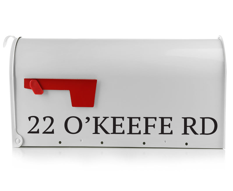 If you're in need of a bold yet easily readable mailbox decal, The O'keefe is a perfect choice. This block lettering style will come with your personalized address in your choice of color. Our mailbox decals are made from high quality vinyl that will outlast those standard mailbox stickers. (1749363163182)