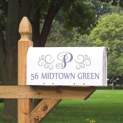 With a script initial, swirl designs and bold printed address, this Mailbox Decal makes a beautiful addition to your curbside.  You can choose from over 20 colors to match your style. Our Mailbox Decals will not peel or fade in the elements, making them a great alternative to those plain mailbox stickers.