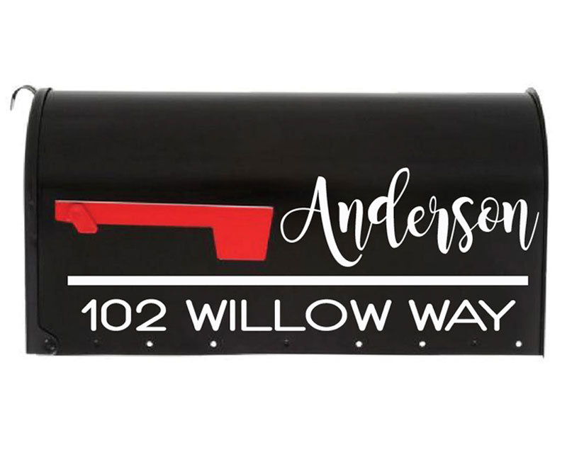 Let your personality shine with our Danielle Mailbox Decal. This Vinyl Mailbox Sticker is made from high quality weather proof outdoor vinyl. Have your last name stand out in a beautiful wide script, your address below will be easily readable in a modern font. Mailbox Decals by eastcoast mailbox decals