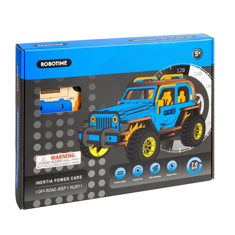 SpoonersStore - Robotime 4 Kinds Movable DIY 3D Wooden Inertia Power Car  Model Building Kits
