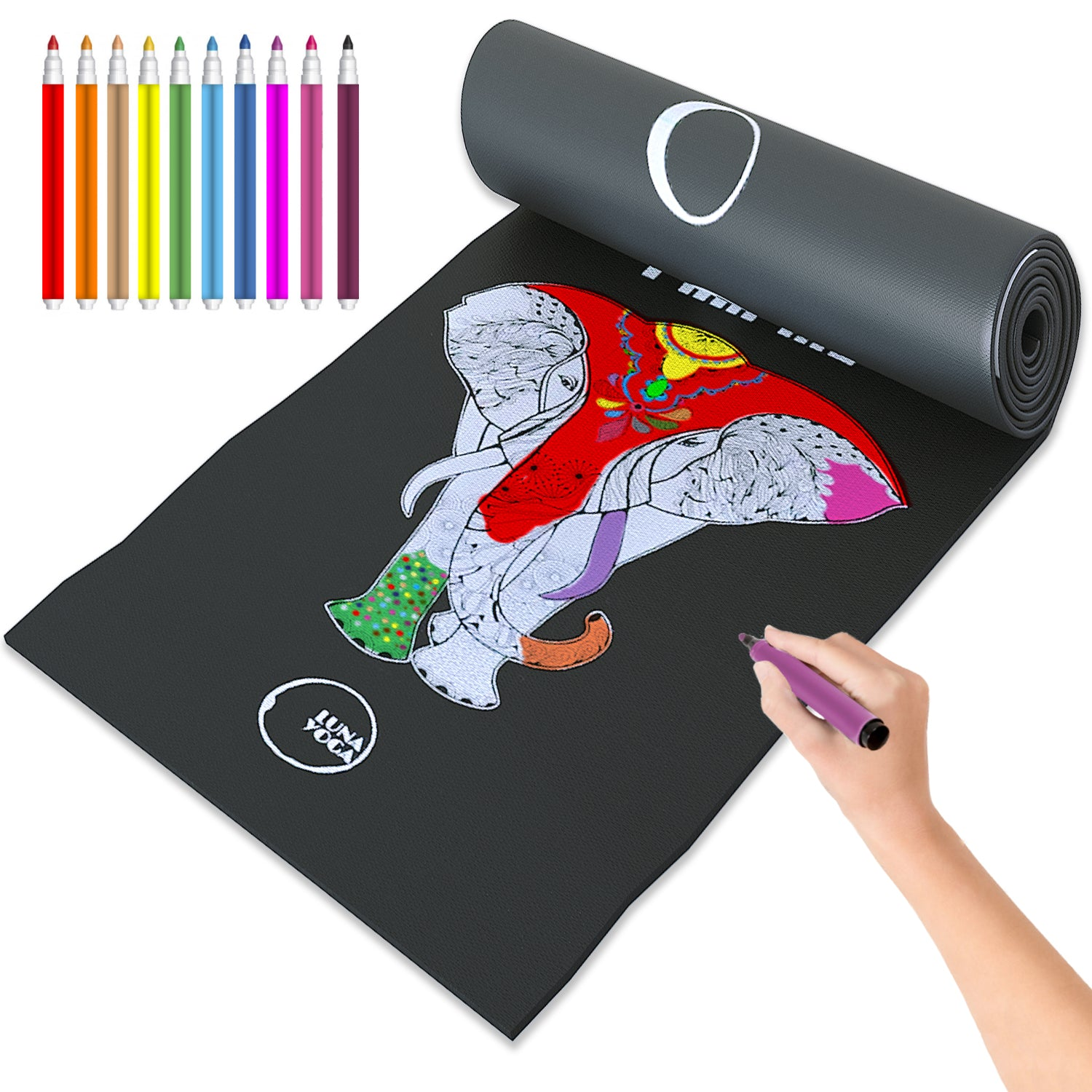 Coloring Yoga Mat for Kids 24 inches wide x 60 inches long, Elephant Print
