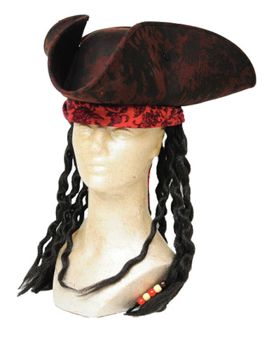 Brown Pirate Hat with Dreads