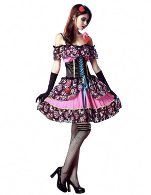 Dia De Los Muertos Short Printed Dress