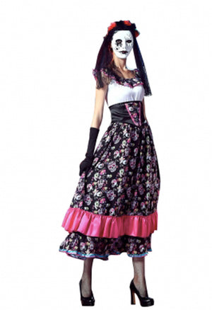 Dia De Los Muertos Long Printed Dress