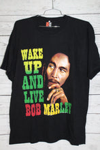 Bob Marley Wake Up And Live Vintage Unisex Large Graphic Double Sided Jamaica Reggae Rock Concert Tour Rap Tee T-Shirt
