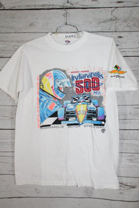 Indianapolis 500 1990 74th Race Vintage Retro Print Large Graphic Unisex Mens Womens Single Stitch Racing T-shirt