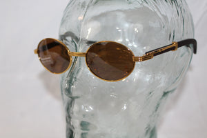Migos Style 90s 2000s Gold and Wood Print Frame Unisex Sunglasses