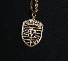 "Porsche 24K Gold Pendant with a Gold stainless Steel Rope Necklace 3MM Mens Womens Fashion 16"" Choker"