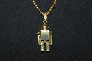 Gold Stainless Steel Solid Lego Man Pendant Box Rope Necklace 3MM Mens Womens Fashion 26""