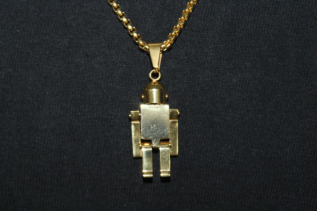 Gold Stainless Steel Solid Lego Man Pendant Box Rope Necklace 3MM Mens Womens Fashion 26