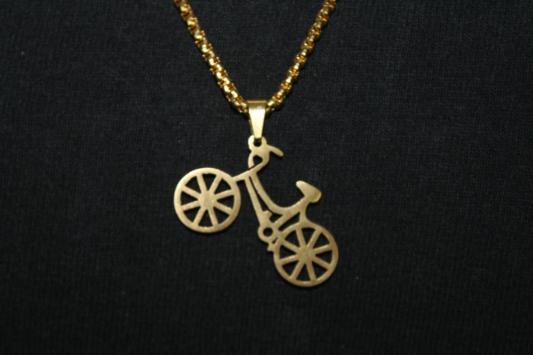 Gold Stainless Steel Solid Bike Bicycle Pendant Box Rope Necklace 3MM Mens Womens Fashion 26
