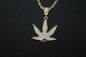 Marijuana Pot Leaf Gold and Silver Plated Pendant and Rope Chain Necklace 3MM Mens Womens Fashion 26""