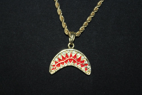 Bape Shark Mouth Gold and Silver Plated Style Pendant Rope and Cuban Chain Necklace 3MM Mens Womens Fashion 26