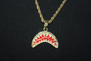 Bape Shark Mouth Gold and Silver Plated Style Pendant Rope and Cuban Chain Necklace 3MM Mens Womens Fashion 26""