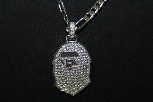 Bape Style Gorilla Gold and Silver Plated Pendant Rope and Cuban Chain Necklace 3MM Mens Womens Fashion 26""