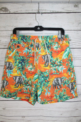 Polo Ralph Lauren Mens Swim Swimming Trunks Orange Jungle Elephant Shorts