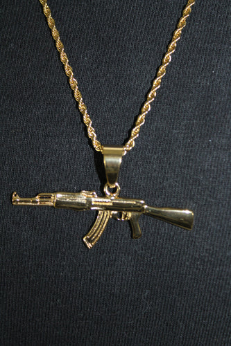 AK47 Gold Stainless Steel Pendant on a Rope Chain Necklace 3MM Mens Womens Fashion 26
