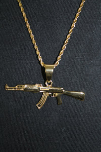 AK47 Gold Stainless Steel Pendant on a Rope Chain Necklace 3MM Mens Womens Fashion 26""