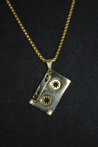 Gold Cassette  Stainless Steel Pendant on a Rope Chain Necklace 3MM Mens Womens Fashion 26""