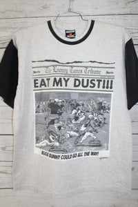 Looney Tunes Football Eat My Dust News Paper Style Bugs Bunny Taz Daffy Vintage 1995 Football T-Shirt