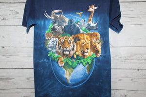 Planet Earth with Animals From Africa Tiger Lion Gorilla Elephant Vintage Animal Nature Tie Dye T-shirt