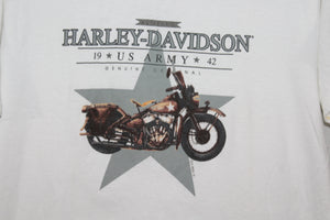 Harley Davidson 1998 / 1942 US Army Motorcycle Vintage Double Sided T-shirt