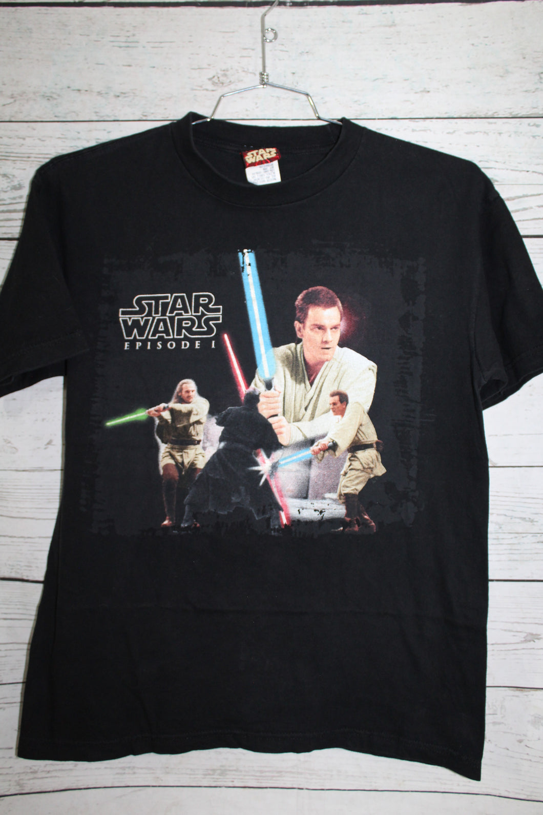 Star Wars Phantom Menace Episode One Darth Maul Obi-Wan Qui-Gon The Duel Fates Vintage T-shirt