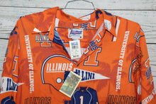 Ray Spooner Illinois Illini All Over Print Vintage DEADSTOCK Hawaiian Collard Shirt