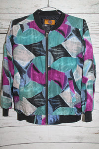 Adidana Brand Abstract Art Fresh Prince Style Vintage Unisex Silk Bomber Jacket