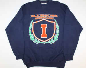 Illinois Fighting Illini Vintage Retro Unisex Mens Womens Sewn Letterman I Patch Embroidered Logo Crewneck Sweatshirt Sweater