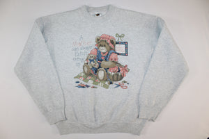 Mother Bear Can Patch Things Vintage Retro Crewneck Sweatshirt Sweater